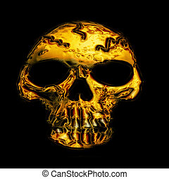 golden skull bone on the black background