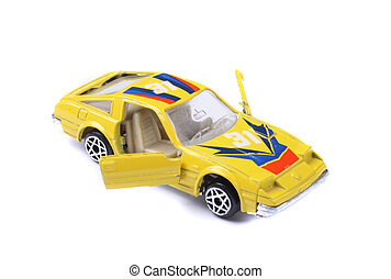 car toy - yellow car toy on the white background