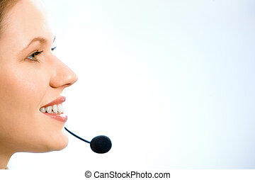 Close-up of consultant - Close-up of beautiful consultant in...