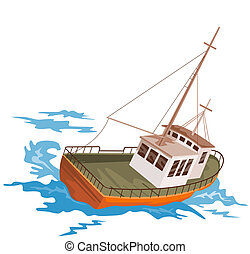 Fishing boat  - Illustration on boats
