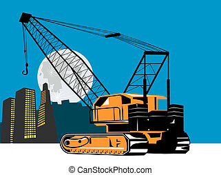 Crane with building  - Illustration on construction