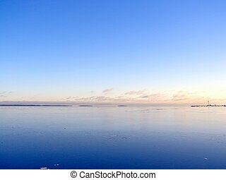 Water landscape - Tranquil water skyline with the blue sky