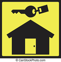 Real Estate Logo - Black house and key on yellow background