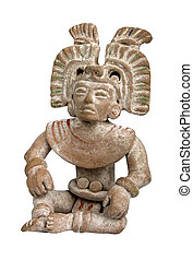 Mayan terracotta - A mayan terracotta figurine isolated on...