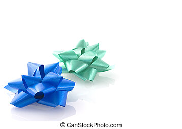 giftset in green and blue composition of bows