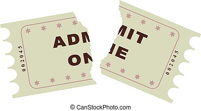 ripped ticket - beige coloured ripped ticket isolated on...