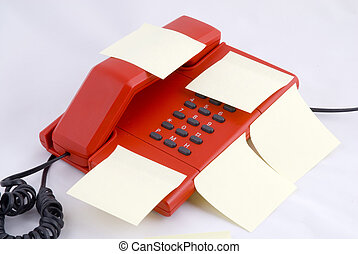 Red telehone with memo - red telephone with yellow memo...