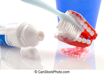 Teeth-brushing - Brush your teeth with tooth-paste and...