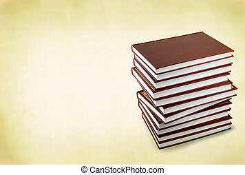 stack of books against retro background