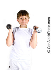 fitnessed kid - kid is fitnessing with heavy weights