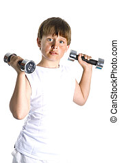 heavy weights - an young boy is lifting heavy weights