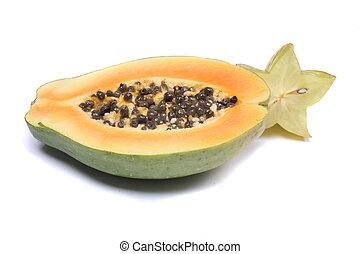 papaya - fresh exotic fruit papaya on the white background