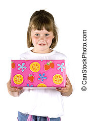 girl with present - girl with a colourful wrapped gift for...