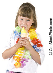 Ice-cream - little girl in summer with a vanilla Ice-cream