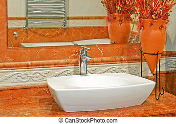 Terracotta detail - Terracotta style bathroom with lot of...