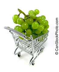Green grapes in shopping cart