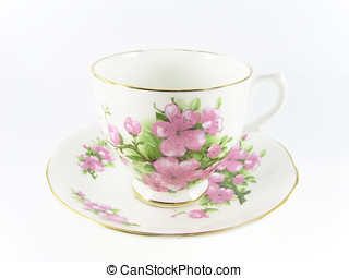 Teacup with Pink Flowers - White teacup and saucer with pink...