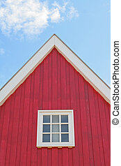 house, facade, red, sky, - facade of a red house,...