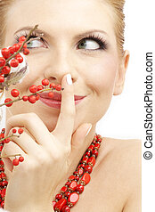 red ashberry girl - portrait of lovely blond with red...
