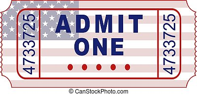 american ticket - admittance ticket designed with patriotic...