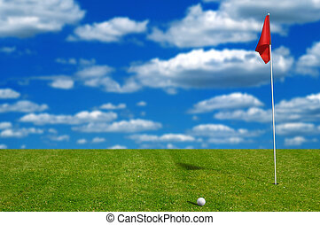 Golf ball on the putting green with sky and clouds in the...