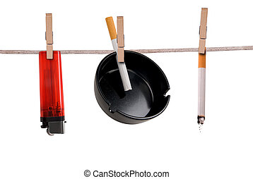 Cigarette,ashtray and lighter on clothesline isolated on...