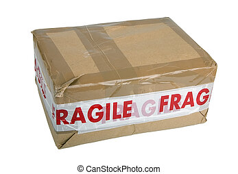 Fragile package - Package with Fragile tape isolated on...