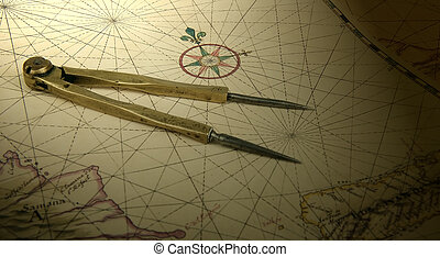 Dividers on a map - Ancient brass dividers on a nautical...