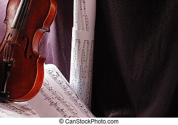 Music - Composition of music notes written on paper with...