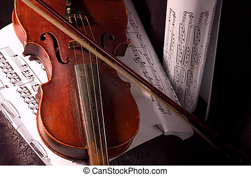 Violin - Old violin with composition of music notes