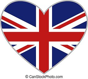 uk heart - union jack heart shaped icon isolated on white