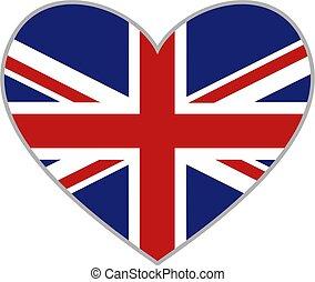 uk heart - union jack heart shaped icon isolated on white