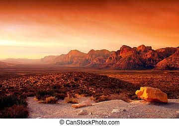 vermelho, rocha, desfiladeiro, Nevada