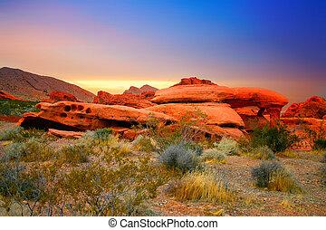 rojo, roca, Cañón, Nevada