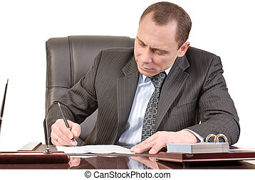 signing papers - man has a good mood signature documents
