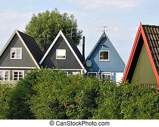 Casas, playa, vacaciones, Dinamarca