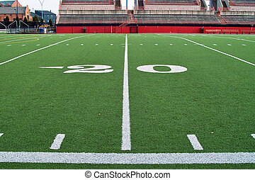 Twenty Yardline - A sideline view of the twenty yardline on...