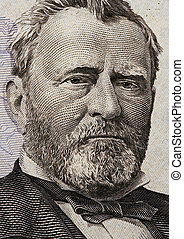 Mr. Ulysses S Grant - macro of fifty dollar bank note from...