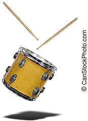 Snare Drum floating - close up of side view of a snare drum...