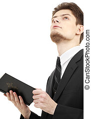 man with holy bible - picture of man with holy bible over...