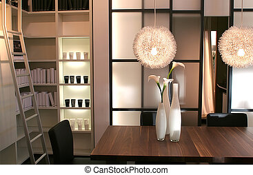home interior with book cupboard