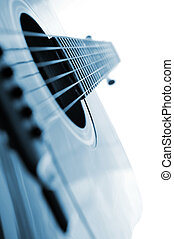 Guitar close up - Acoustic guitar close up on white...