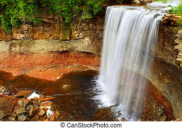 Waterfall - Scenic waterfall in wilderness in Ontario,...