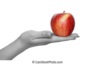 red apple in hand - apple in hand isolated over white...