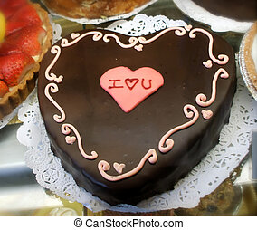 Valentine Cake - Romantic Chocolate Heart Cake Spells I Love...