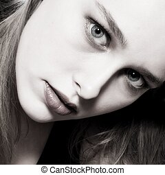Duotone portrait - Studio portrait of a beautyful model in...