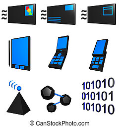 Telecommunications Mobile Industry Icons Set - Blue Black -...
