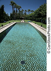 arab swimming pool - swimming pool arab style with grass and...