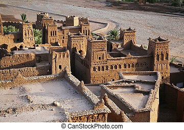 kasbah from the top - detail of kasbah ait benhaddou from...