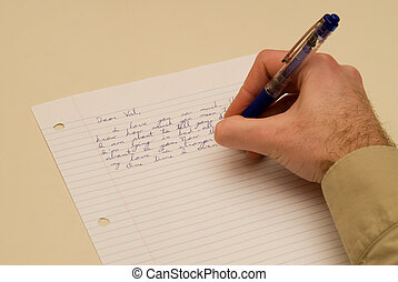Man Writing a Love Letter - Man\\\'s hand writing a private...
